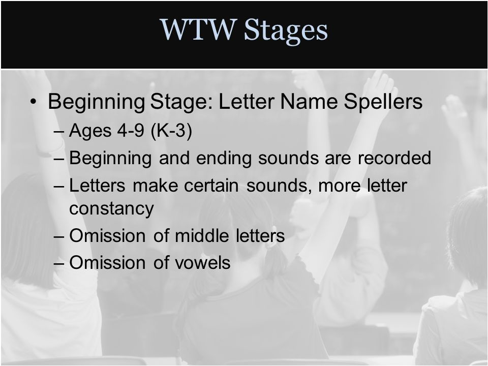 8 Wtw Stages Beginning Stage Letter Name Spellers Ages 4 9 K 3 And Ending Sounds Are Recorded Letters Make Certain