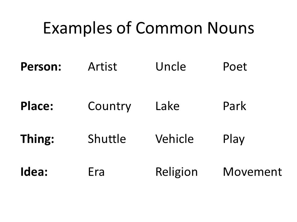 nouns people, places, things, and ideas. 4 main types of nouns