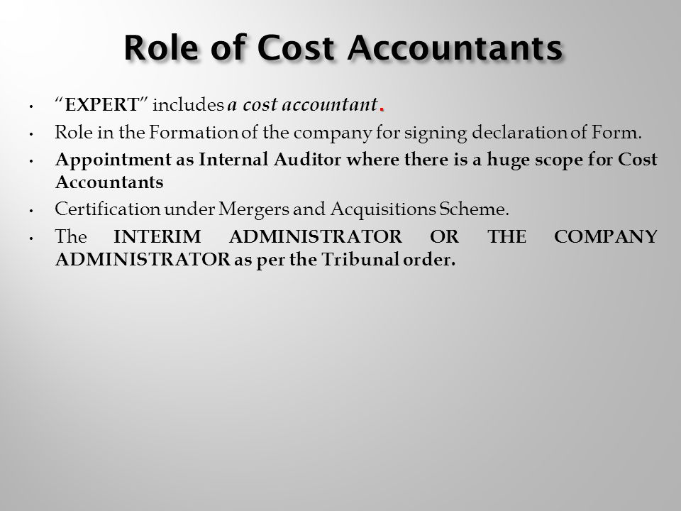 Cost Accountants And Companies Act Expert Includes A Cost