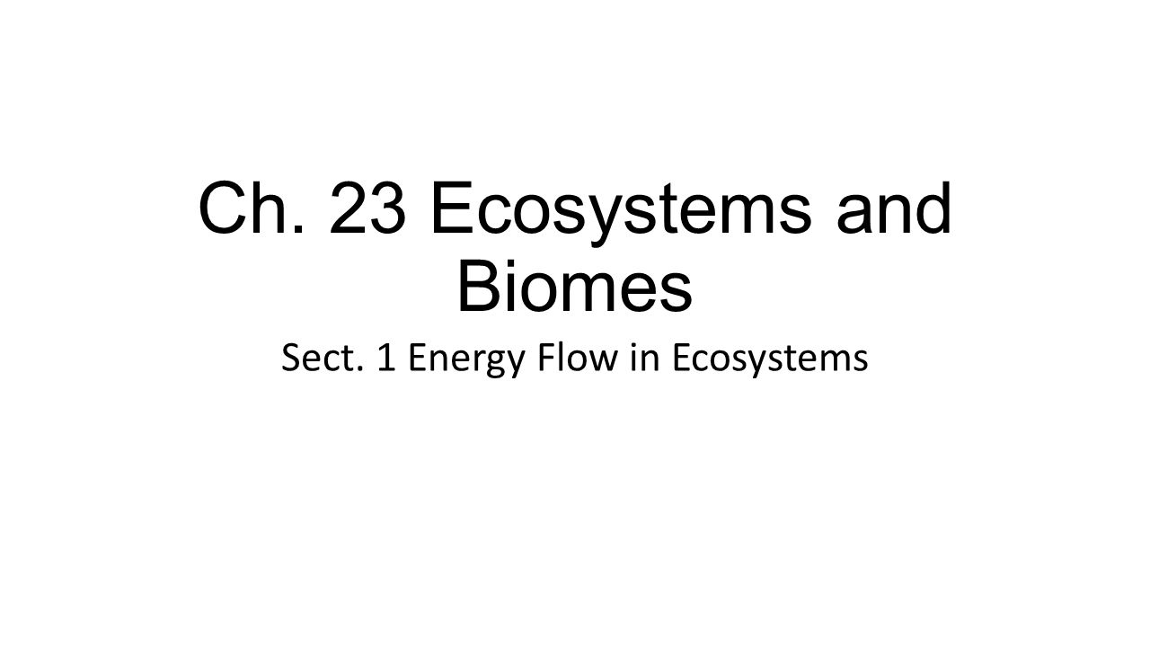 Ch. 23 Ecosystems and Biomes Sect. 1 Energy Flow in Ecosystems