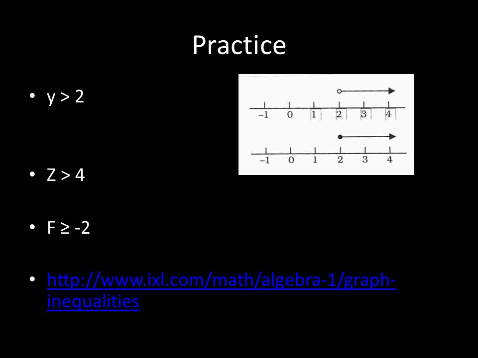 Inequalities Inequality- tells us that two values are not equal. Ex ...