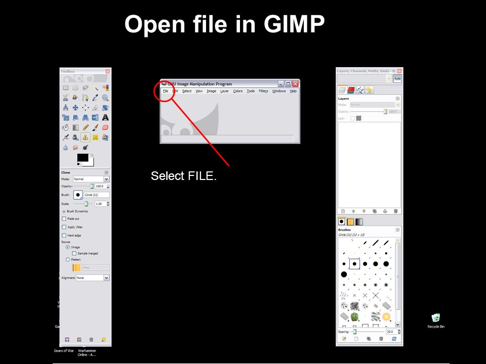 Opening Screen for GIMP Use the Dialogs/Windows menu to add the