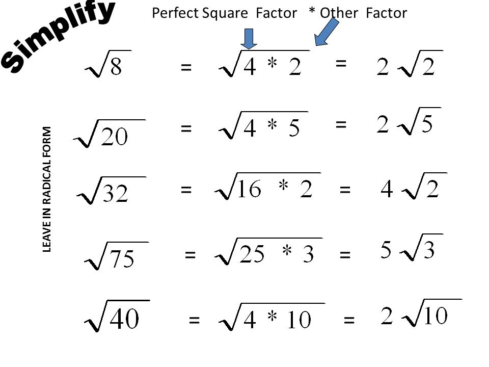 Square Factor Other LEAVE IN RADICAL FORM