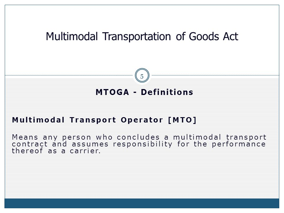 multimodal transport operator mto