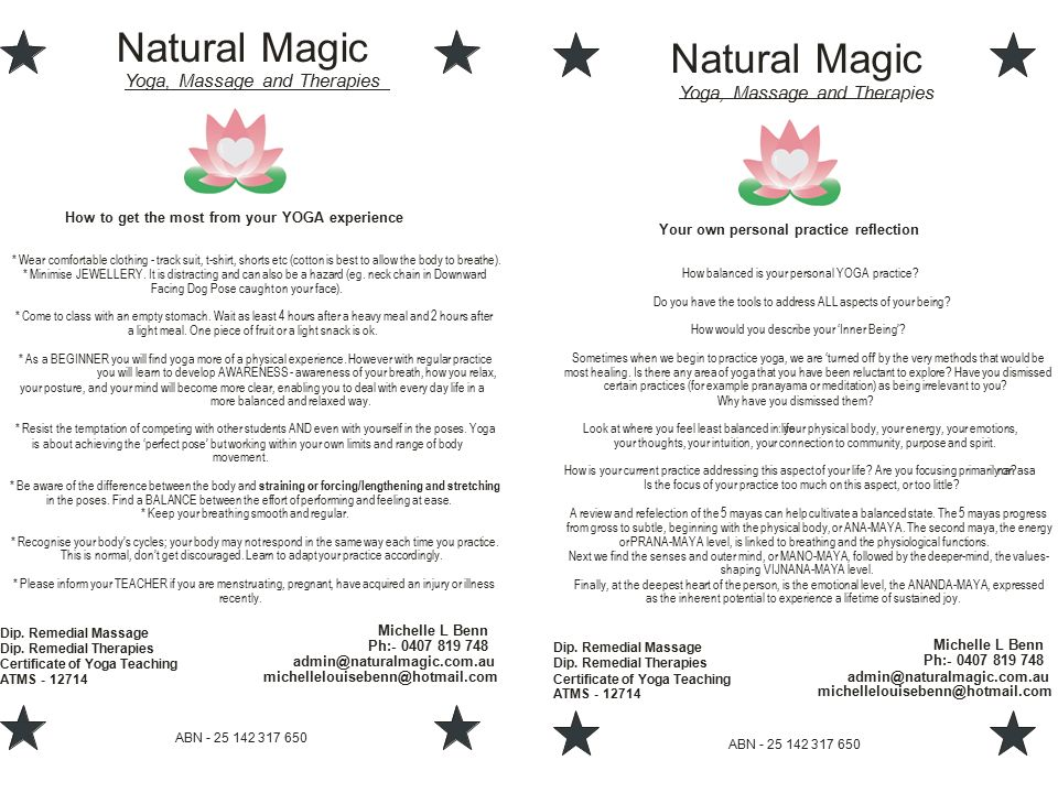 Natural Magic Yoga Massage And Therapies Abn Dip Remedial Massage