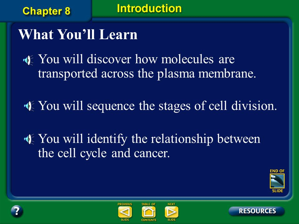 Chapter Contents – page viii Chapter 8 Cellular Transport and the ...