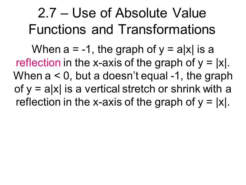 When a = -1, the graph of y = a|x| is a reflection in the x-axis of the graph of y = |x|.