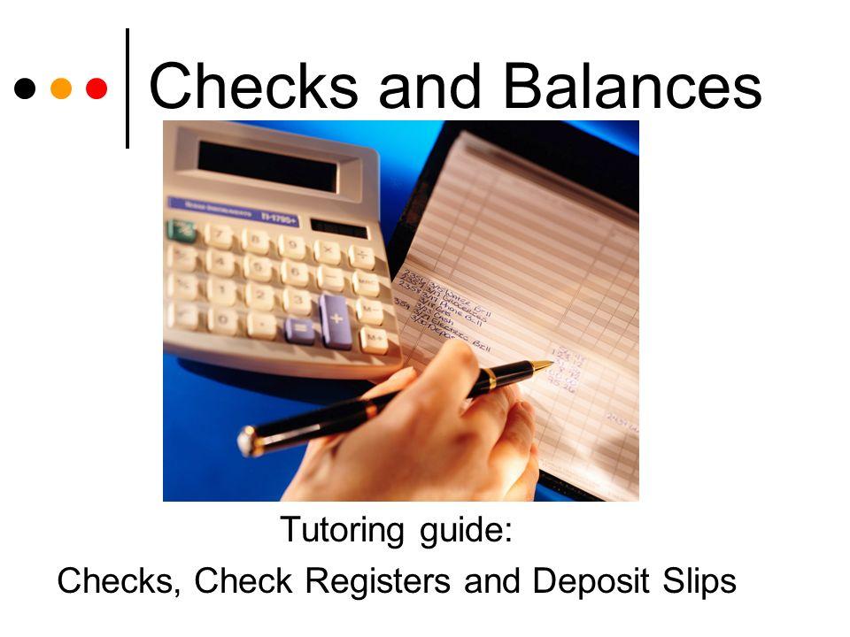 checks and balances tutoring guide checks check registers and
