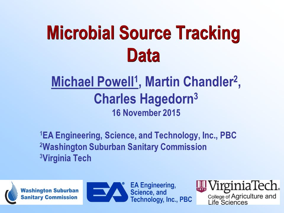 Microbial Source Tracking Data Michael Powell 1 Martin Chandler 2