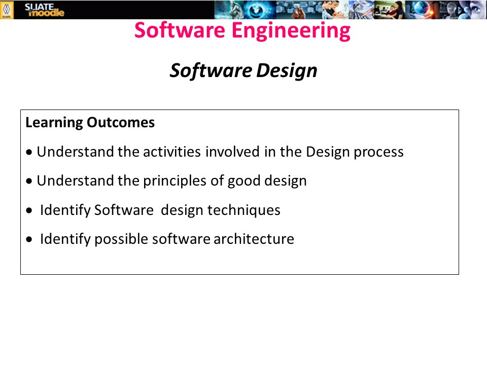 Week 6 Software Design Hndit Software Engineering Software Design Learning Outcomes Understand The Activities Involved In The Design Process Ppt Download