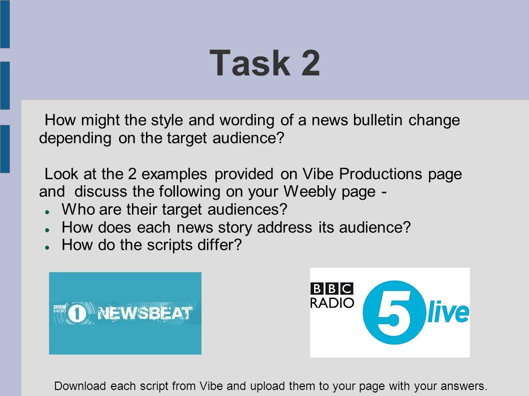 Unit 41 News Production for Radio  Bulletin A short news programme