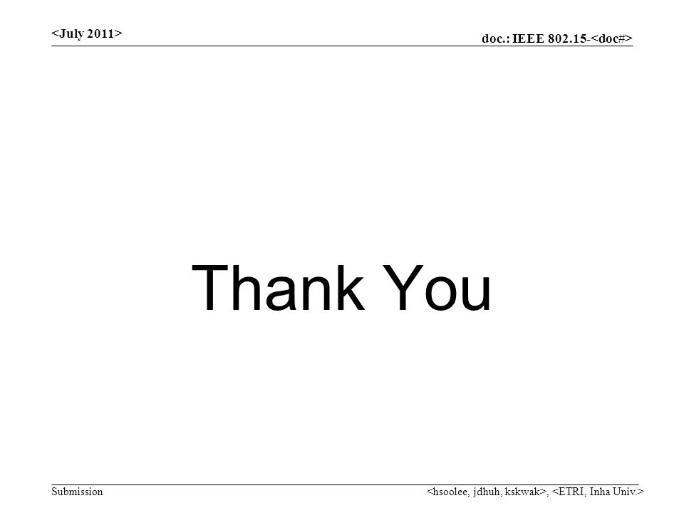 doc.: IEEE Submission Thank You,