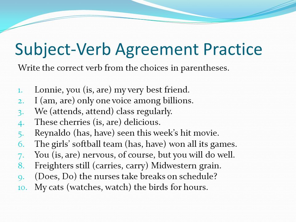 Subject Verb Agreement Pre Test Directions Write The Main Word Or