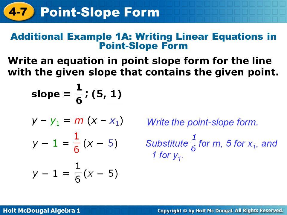 Holt Mcdougal Algebra Slope Intercept Form Warm Up Find Each Y