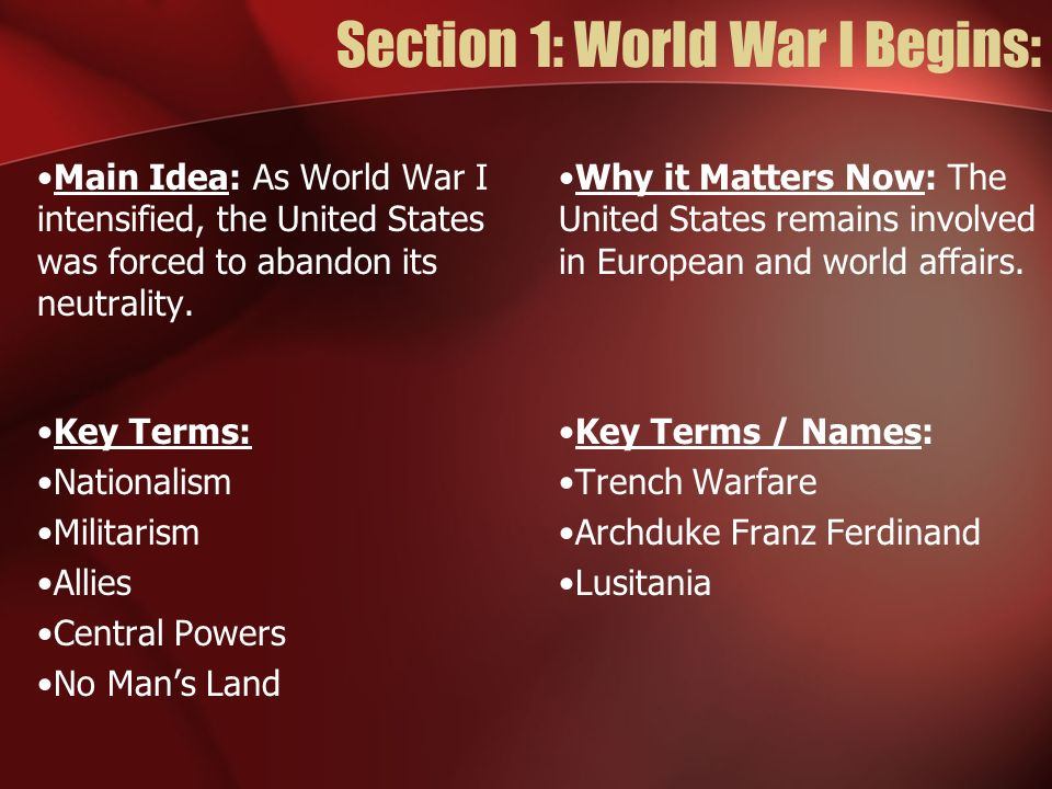 The First World War: US History Timeline: United States