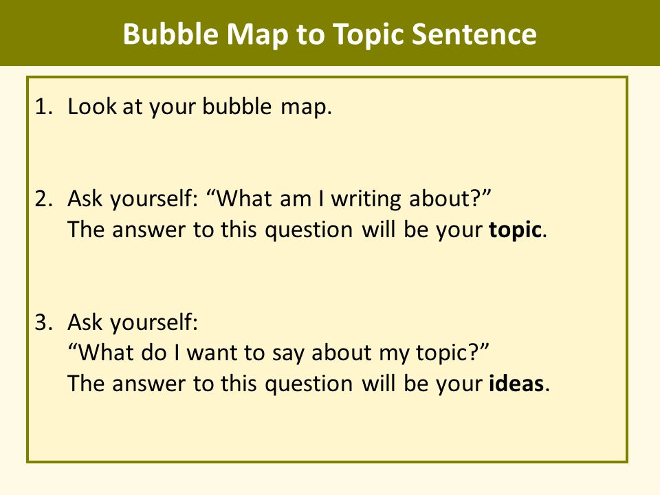 how to start your topic sentence