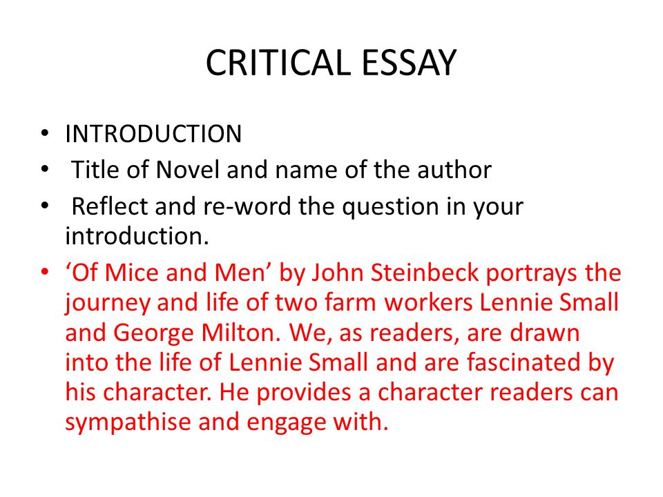 Of Mice And Men John Steinbeck The Best Laid Schemes Of Mice And  Critical Essay Introduction Title Of Novel And Name Of The Author Reflect  And Reword Literary Essay Thesis Examples also Best Writing Services  Buy A Doctorate