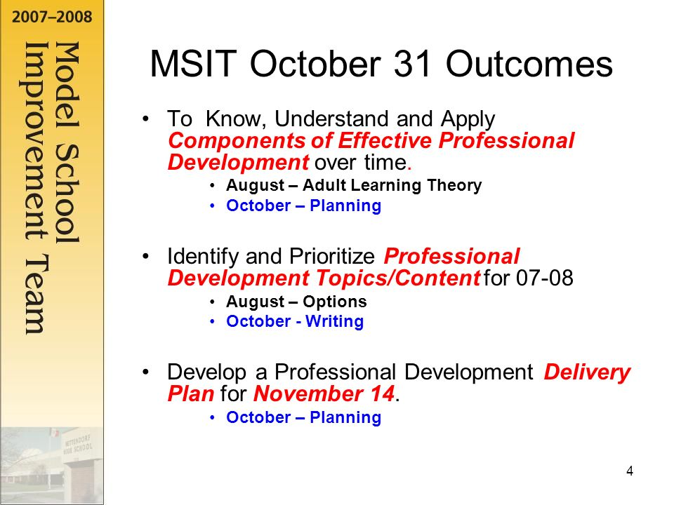 4 MSIT October 31 Outcomes To Know Understand And Apply Components Of Effective Professional Development