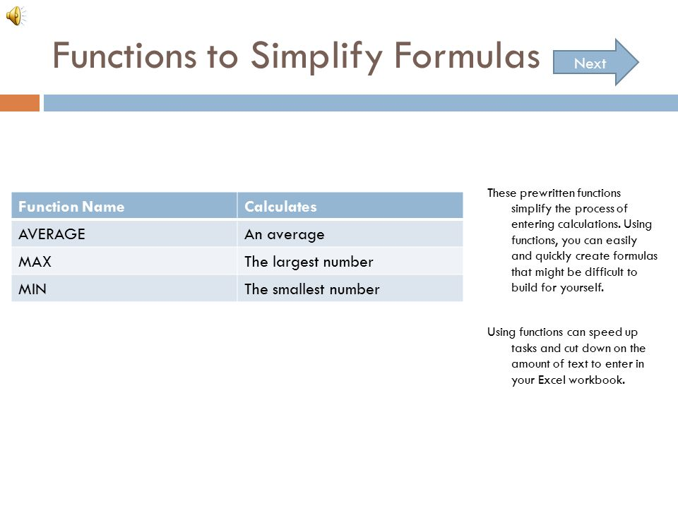 Functions To Simplify Formulas These Prewritten The Process Of Entering Calculations