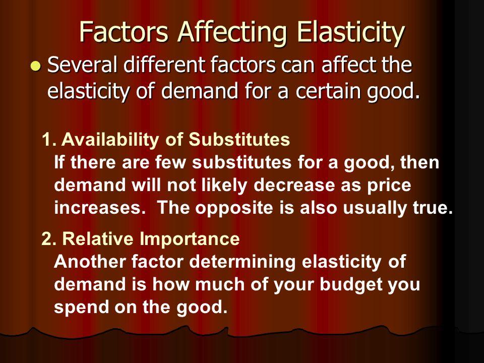 factors influencing elasticity of demand