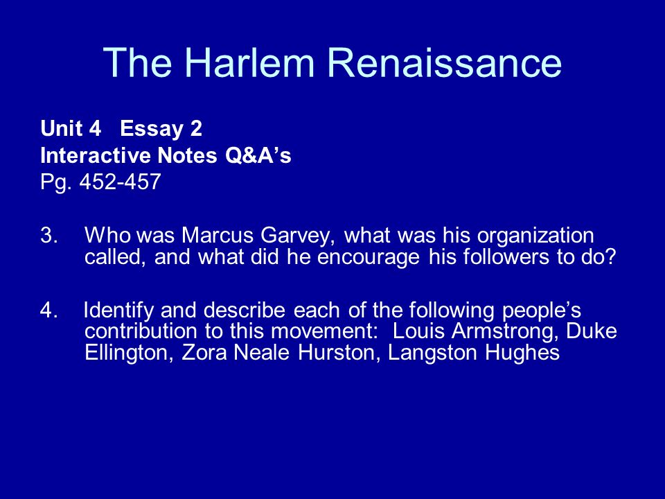 The Harlem Renaissance Unit  Essay  Interactive Notes Qas Pg  The Harlem Renaissance Unit  Essay  Interactive Notes Qas Pg