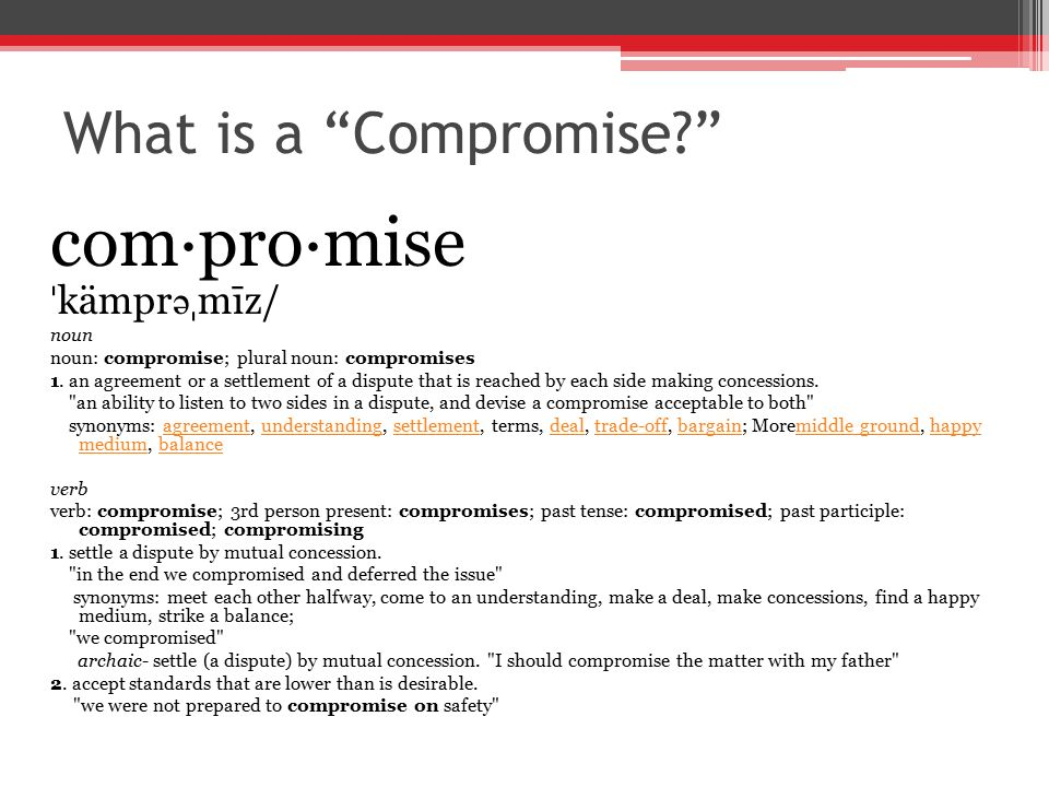 Compromises Synonyms Antonyms