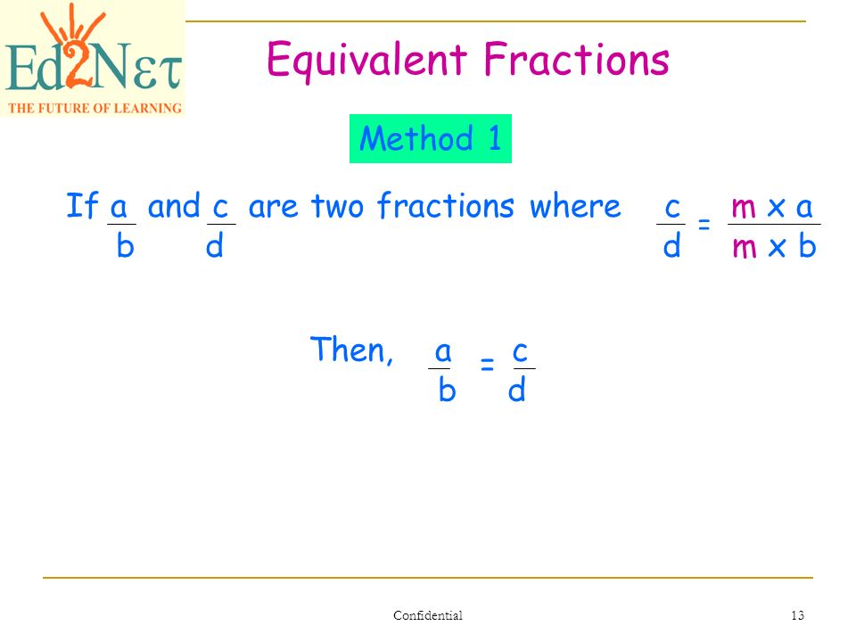 simplest form 4/16  Our Lesson Simplify and Equivalent Fractions Confidential 13 ...