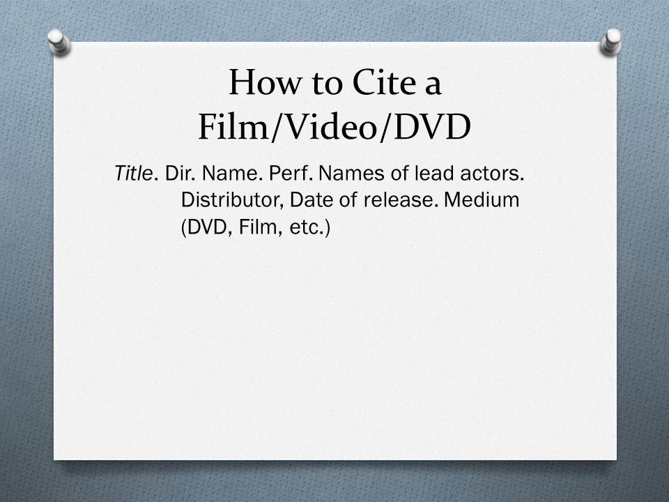 mla citation for film