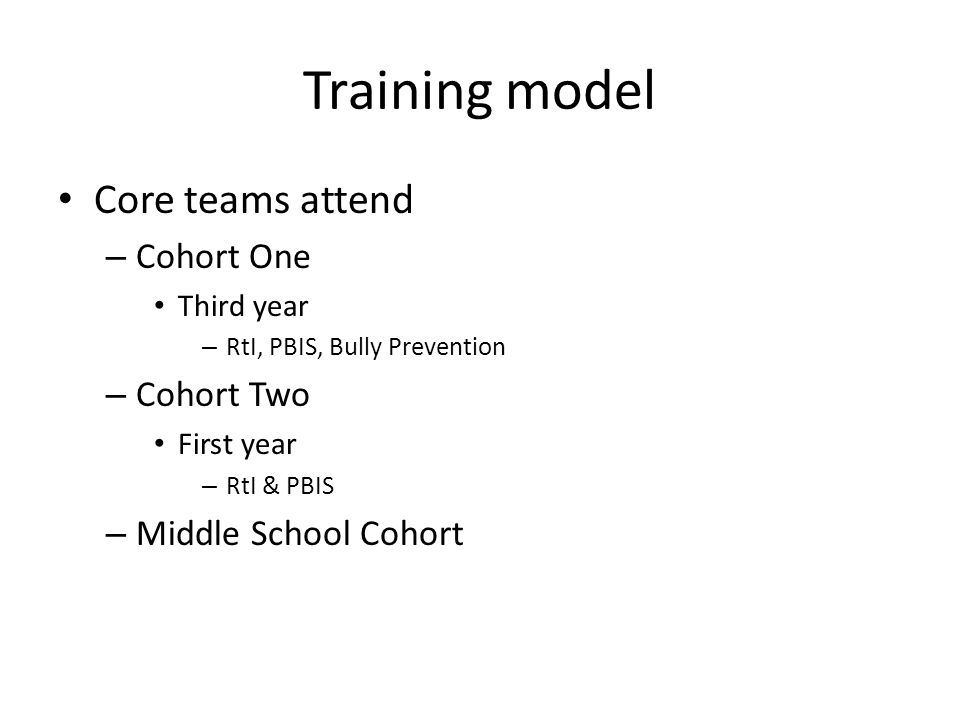 Training model Core teams attend – Cohort One Third year – RtI, PBIS, Bully Prevention – Cohort Two First year – RtI & PBIS – Middle School Cohort