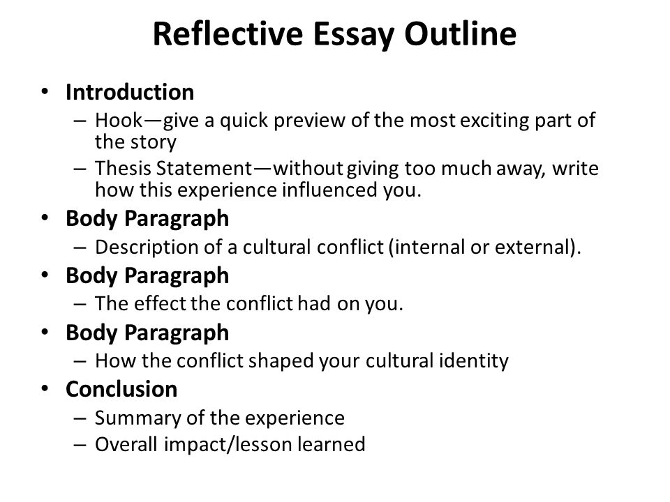University English Essay Reflective Essay Outline Introduction  Hookgive A Quick Preview Of The  Most Exciting Part How To Write An Essay For High School Students also Compare And Contrast Essay Topics For High School Embedded Assessment  Writing About My Cultural Identity Topic  Essay Examples High School