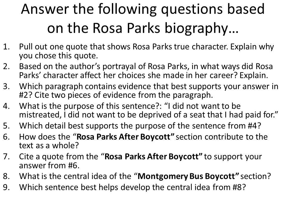 rosa parks paragraph