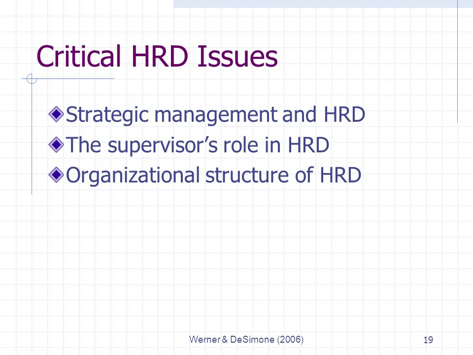 Werner & DeSimone (2006)19 Critical HRD Issues Strategic management and HRD The supervisor's role in HRD Organizational structure of HRD