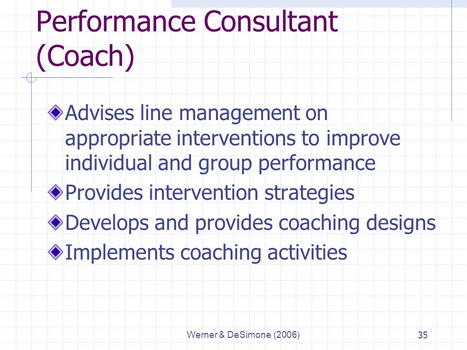 Werner & DeSimone (2006)35 Performance Consultant (Coach) Advises line management on appropriate interventions to improve individual and group performance Provides intervention strategies Develops and provides coaching designs Implements coaching activities