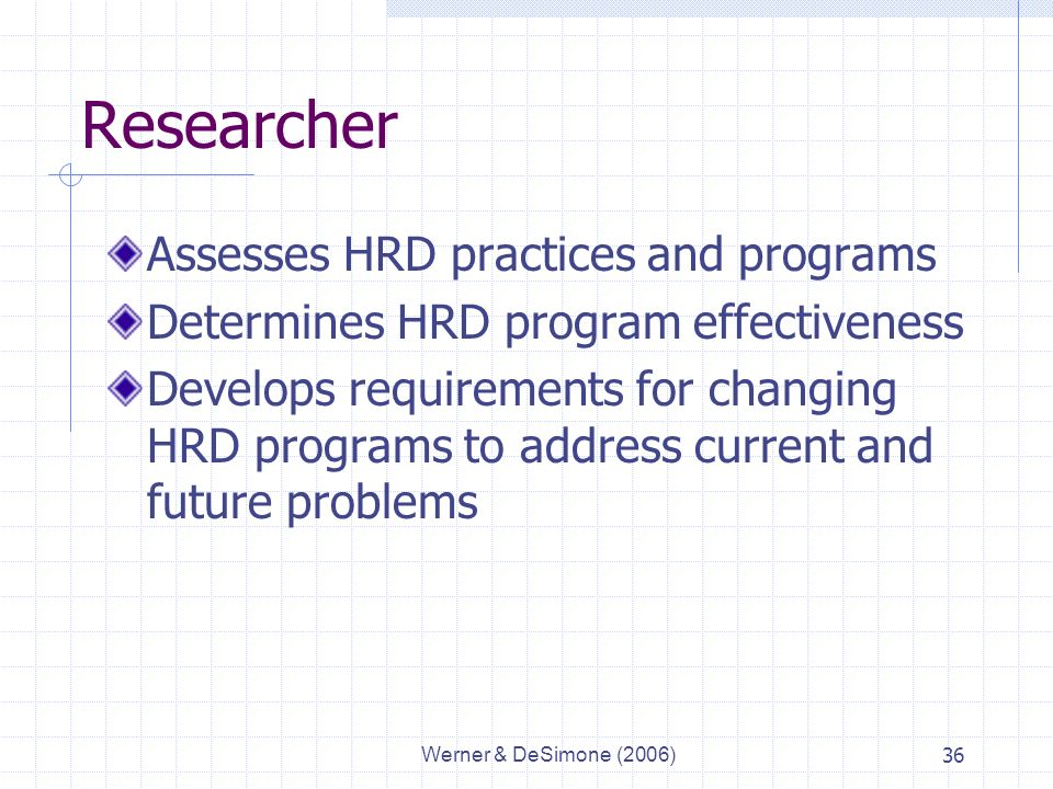 Werner & DeSimone (2006)36 Researcher Assesses HRD practices and programs Determines HRD program effectiveness Develops requirements for changing HRD programs to address current and future problems