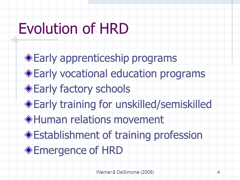 Werner & DeSimone (2006)4 Evolution of HRD Early apprenticeship programs Early vocational education programs Early factory schools Early training for unskilled/semiskilled Human relations movement Establishment of training profession Emergence of HRD