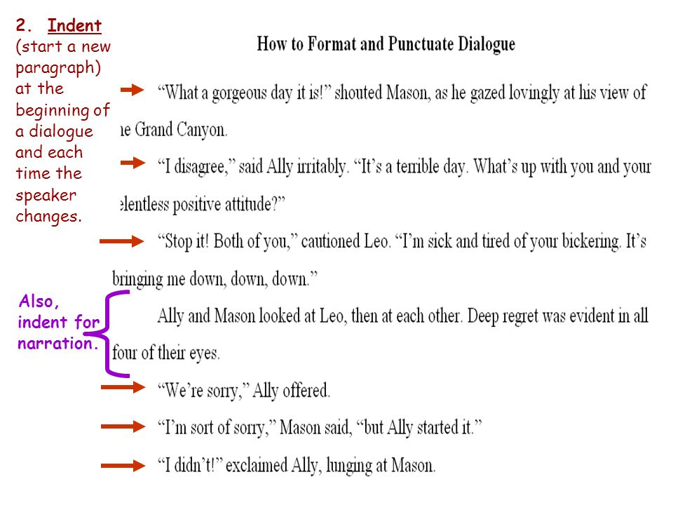 How to format dialogue in a personal narrative