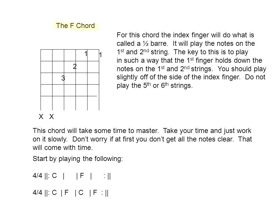 Class 12 Guitar I and II Lots of stuff F Chord review and practice ...