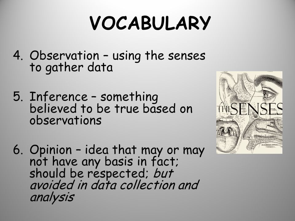 VOCABULARY 4.Observation – using the senses to gather data 5.Inference – something believed to be true based on observations 6.Opinion – idea that may or may not have any basis in fact; should be respected; but avoided in data collection and analysis