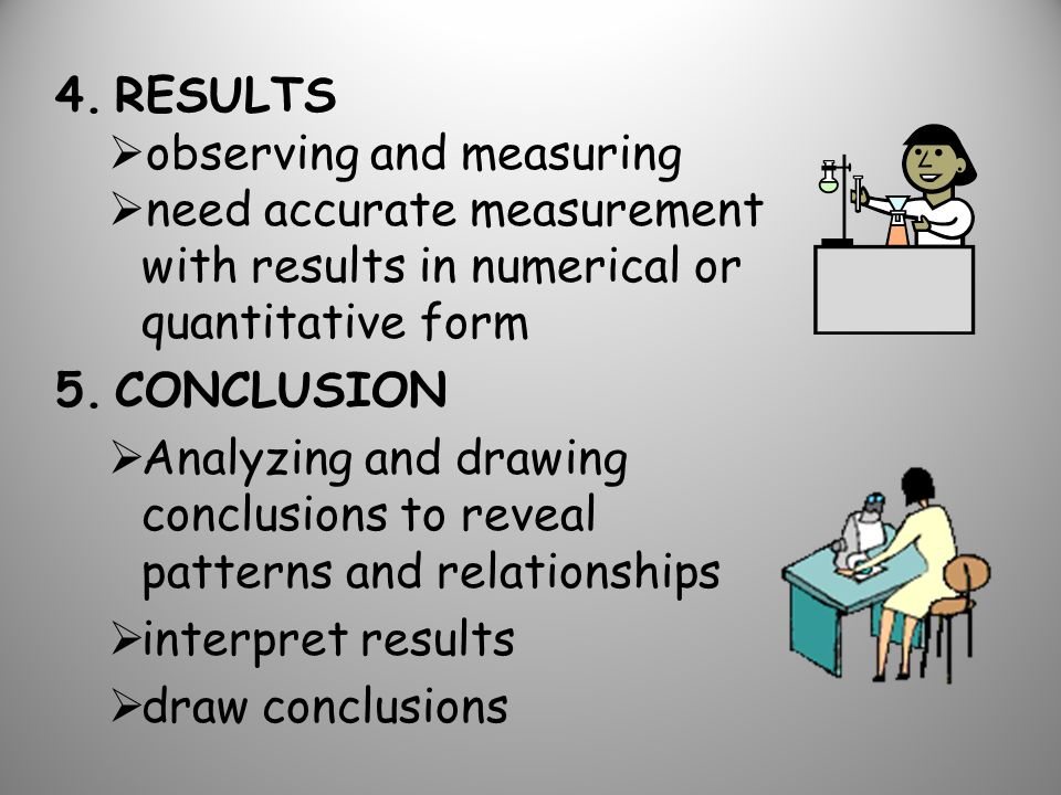 4.RESULTS  observing and measuring  need accurate measurement with results in numerical or quantitative form 5.CONCLUSION  Analyzing and drawing conclusions to reveal patterns and relationships  interpret results  draw conclusions