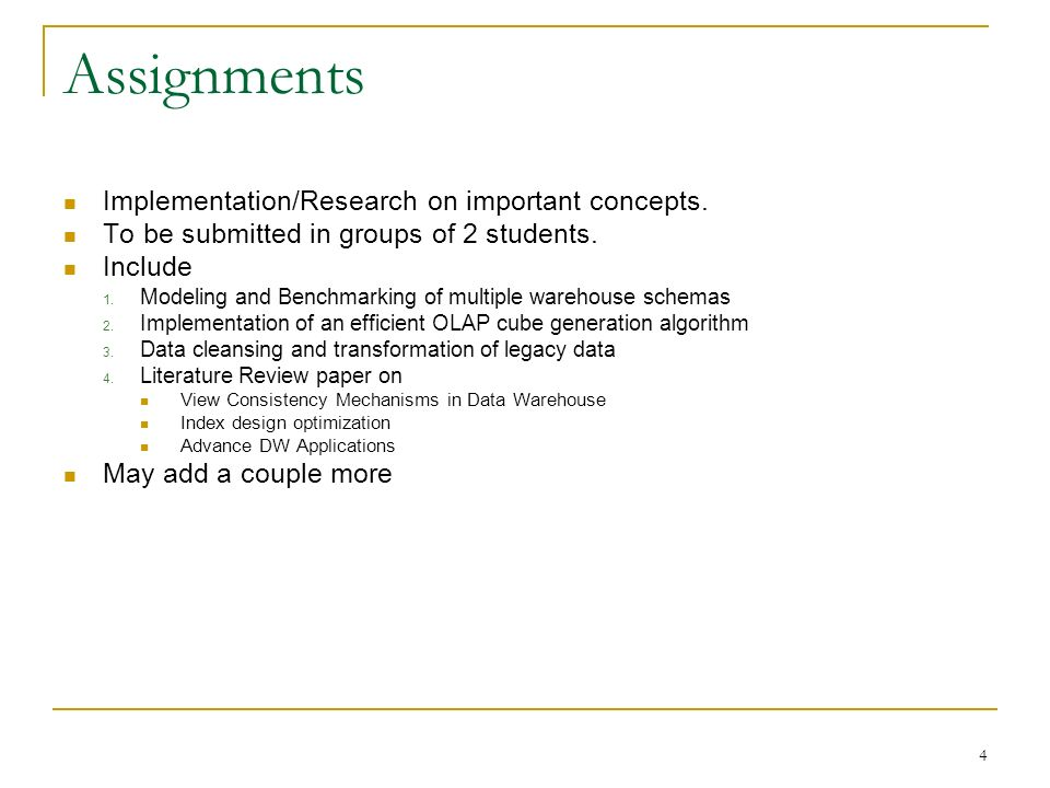 4 Assignments Implementation/Research on important concepts.