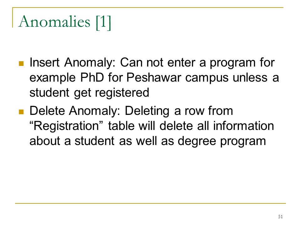 Anomalies [1] Insert Anomaly: Can not enter a program for example PhD for Peshawar campus unless a student get registered Delete Anomaly: Deleting a row from Registration table will delete all information about a student as well as degree program 51