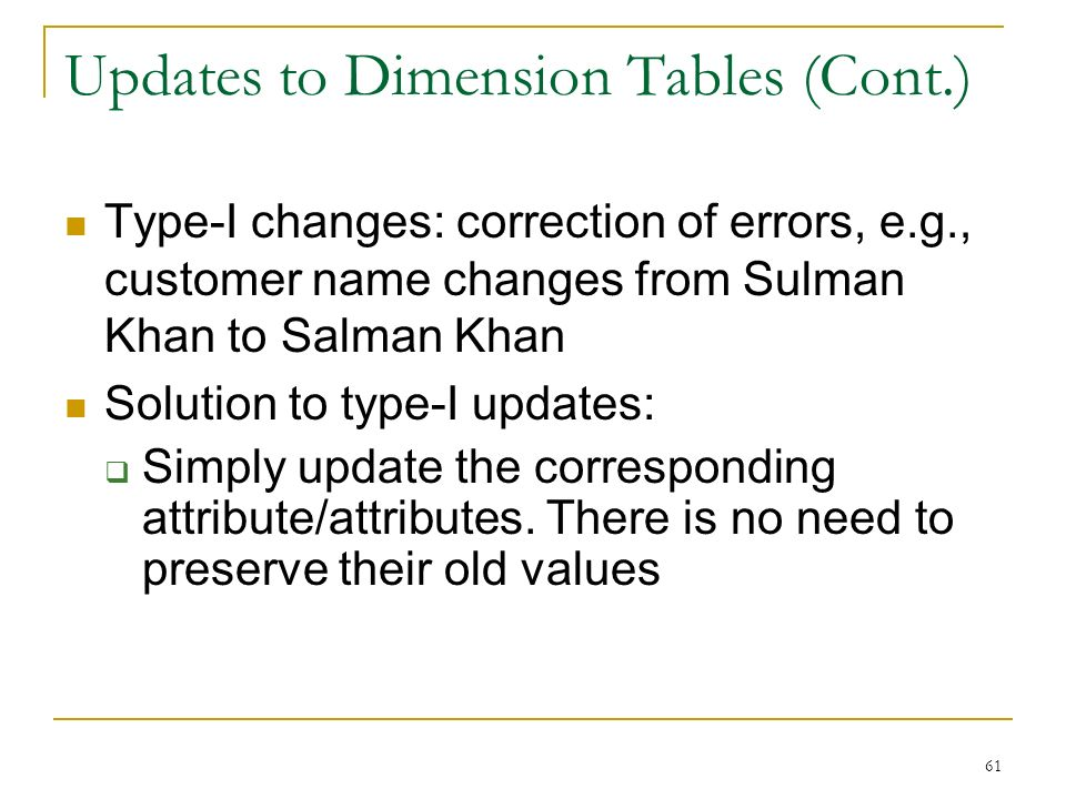 Updates to Dimension Tables (Cont.) Type-I changes: correction of errors, e.g., customer name changes from Sulman Khan to Salman Khan Solution to type-I updates:  Simply update the corresponding attribute/attributes.