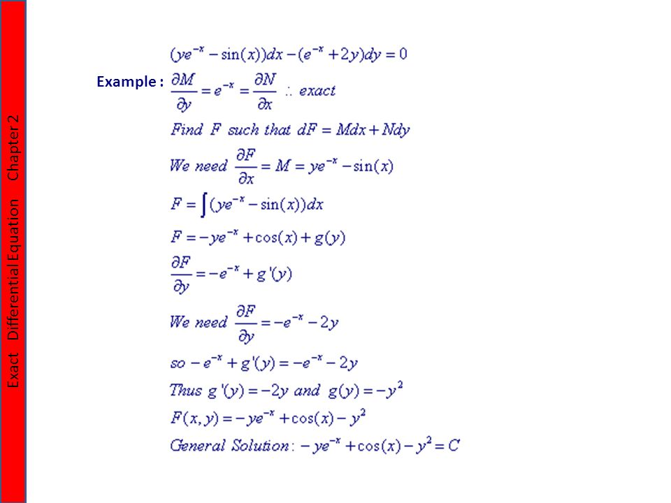Chapter 21 Exact Differential Equation Chapter 2 Exact