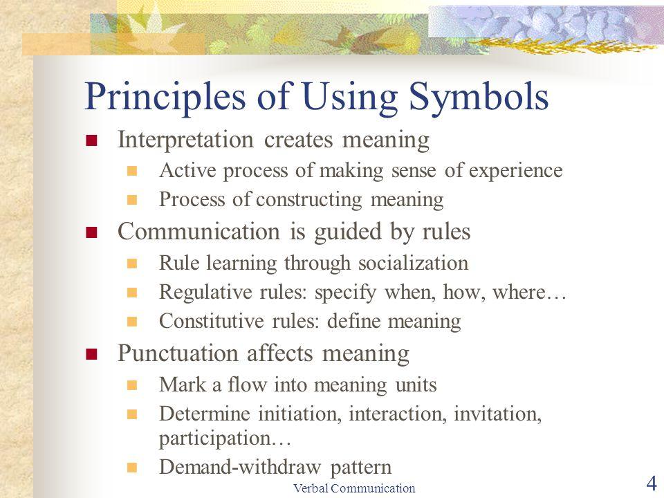 Verbal communication 1 lesson objectives the power of language 4 verbal communication 4 principles of using symbols interpretation creates meaning active process stopboris Choice Image