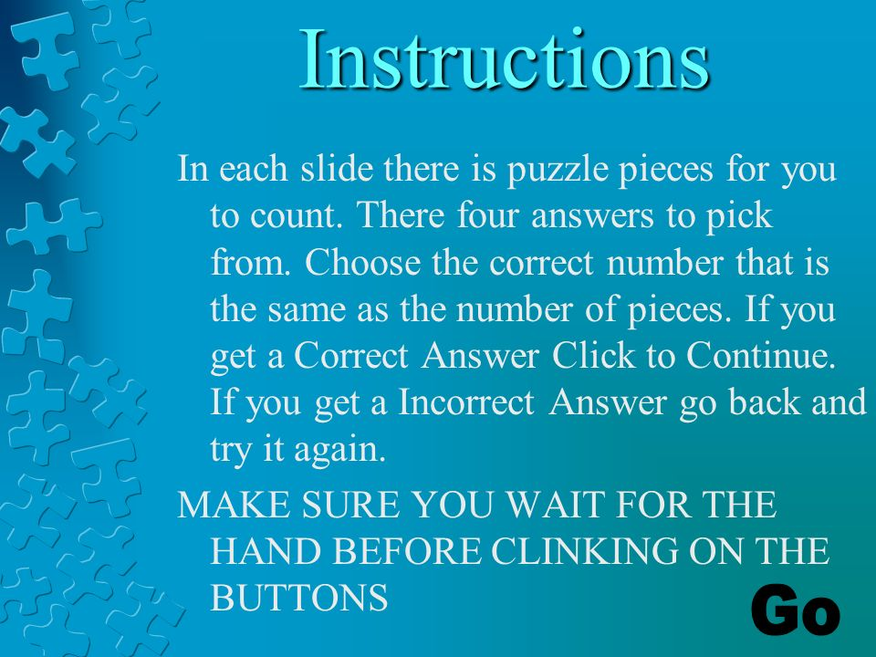 Jigsaw Counting A Counting Game 1 5 Instructions In Each Slide There