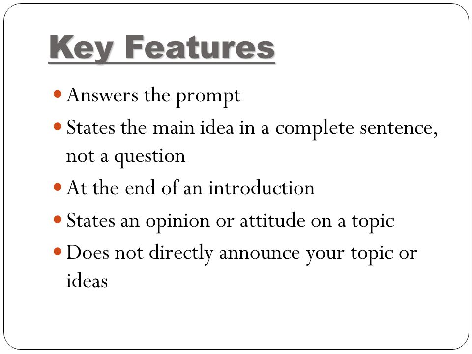 The Roadmap Of Your Essay The Thesis Statement Definition The Thesis  Definition The Thesis Statement Is One Sentence That Tells The Main Idea Of  An Essay