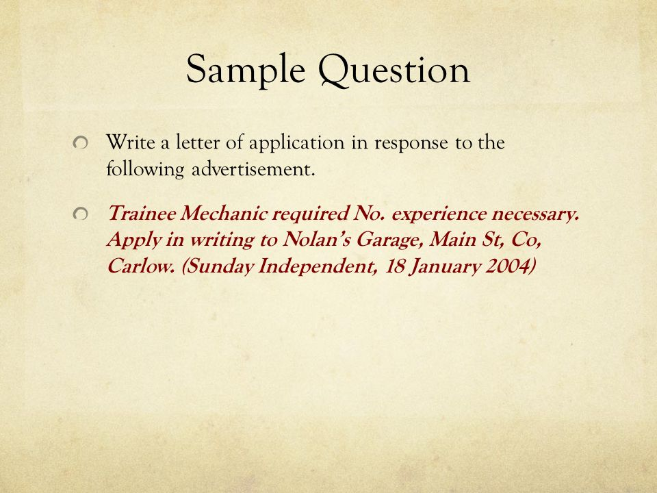 write a job application in response to the following advertisement