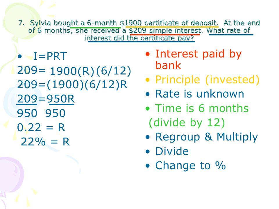 6 3 Esimple Interest Formula I Prt I Interest Earned Amount