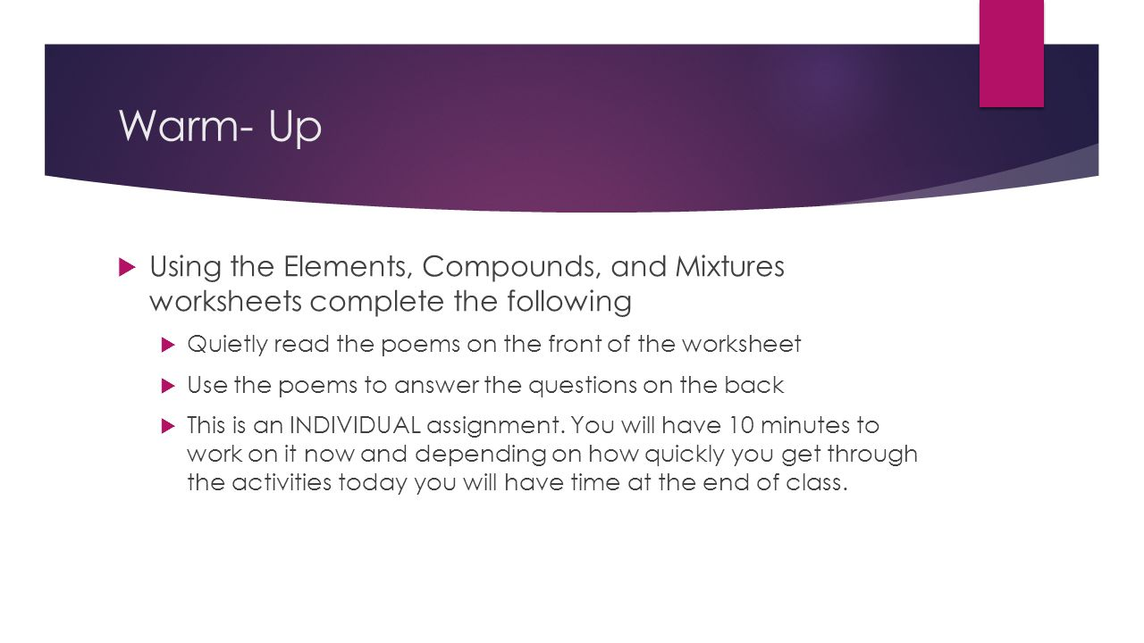 Workbooks poems worksheets : Warm- Up  Using the Elements, Compounds, and Mixtures worksheets ...