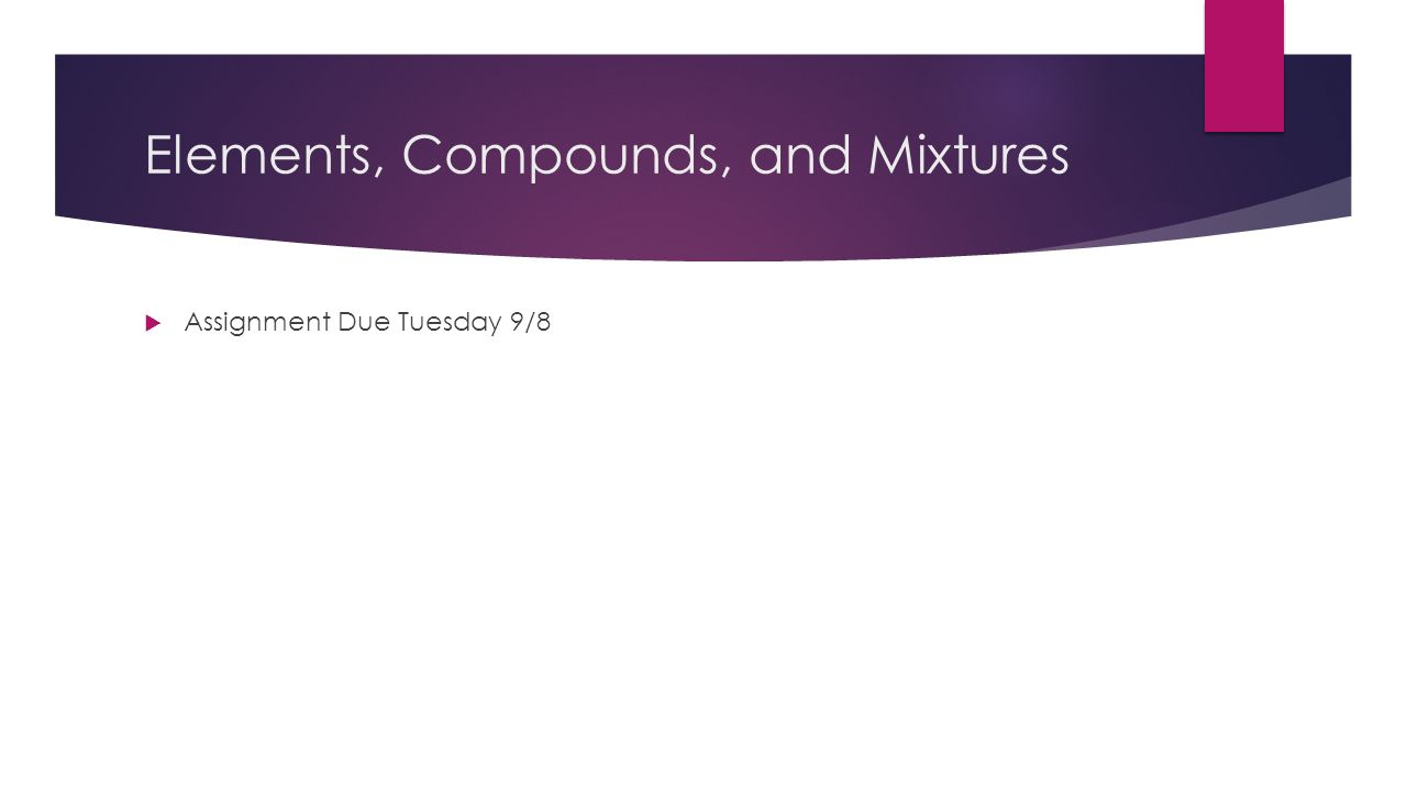 Warm- Up  Using the Elements, Compounds, and Mixtures worksheets ...